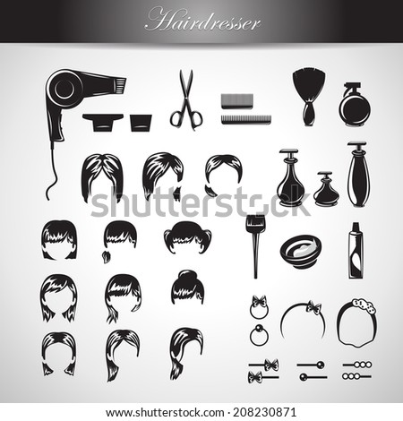 Hairdressing Equipment Icons Set - Isolated On Gray Background - Vector Illustration, Graphic Design Editable For Your Design - stock vector