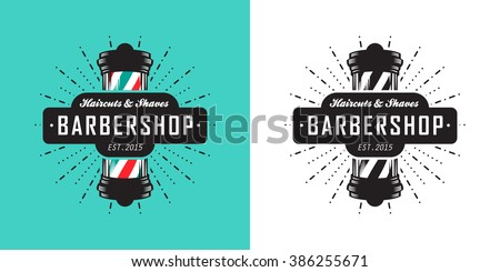Hairdressing saloon icon with barber pole - stock vector