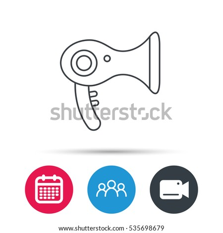 Hairdryer icon. Electronic blowdryer sign. Hairdresser equipment symbol. Group of people, video cam and calendar icons. Vector