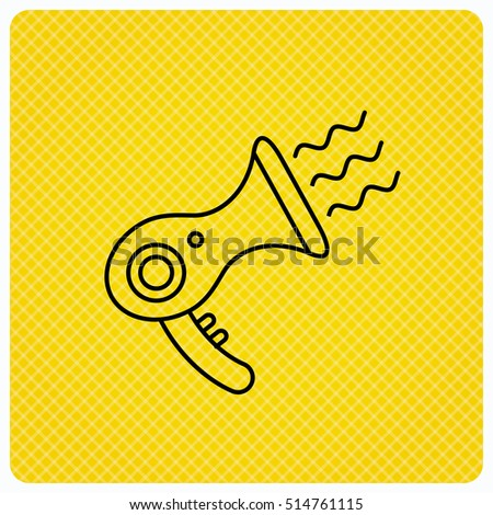 Hairdryer icon. Electronic blowdryer sign. Hairdresser equipment symbol. Linear icon on orange background. Vector