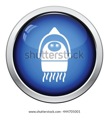 Hairdryer icon. Glossy button design. Vector illustration. - stock vector