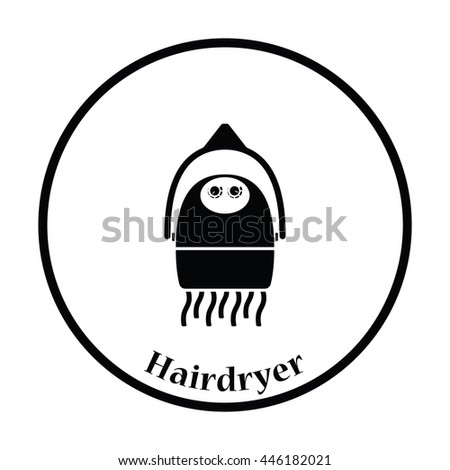 Hairdryer icon. Thin circle design. Vector illustration. - stock vector