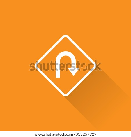 Hairpin Curve Turn Sign - stock vector