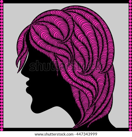 hairstyle. girl. bright hair - stock vector