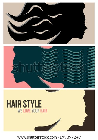Hairstyle horizontal banners - stock vector