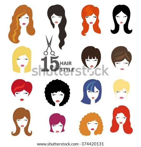 Hairstyle silhouette.Woman,girl,female hair,face.Beauty Vector,flat avatars.Beautiful hair style icon,fashion look set.Different hair color,haircut,styling.Trendy flat style.Fashion avatar,image,logo - stock vector