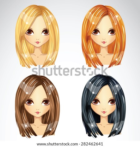 Hairstyle straight bob collection in different colors - stock vector