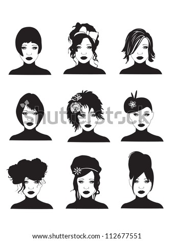 Hairstyles - stock vector