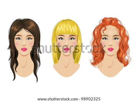 Hairstyles set: blonde, brunette, red-haired woman - stock vector