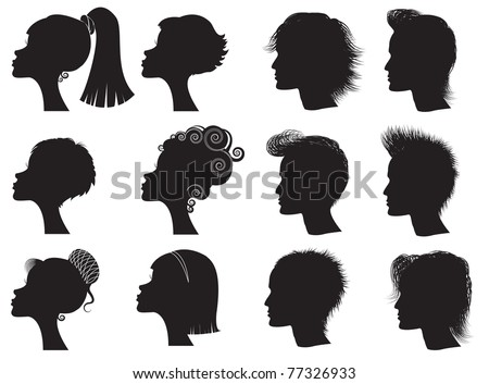 Hairstyles - vector black silhouettes of men and women - stock vector