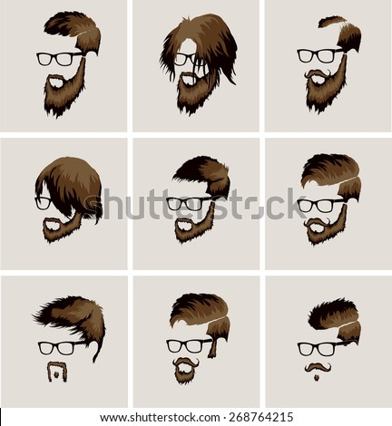 hairstyles with beard and mustache wearing glasses - stock vector