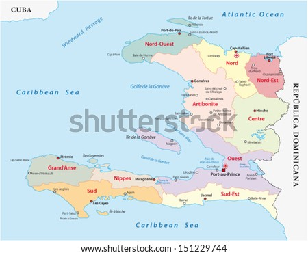 Haiti Administrative Map Stock Vector HD Royalty Free 151229744