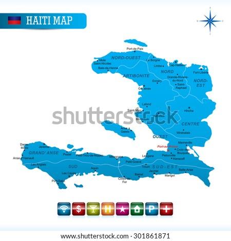 Haiti Blue Map - stock vector