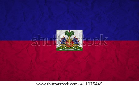 Haiti  flag with the effect of crumpled paper and grunge