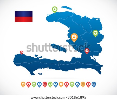 Haiti Map with Navigation Icons - stock vector