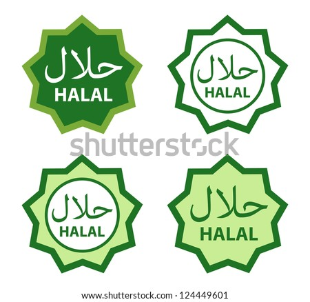 Halal food product labels. - stock vector
