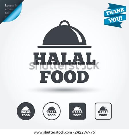 Halal food product sign icon. Natural muslims food symbol. Circle and square buttons. Flat design set. Thank you ribbon. Vector - stock vector