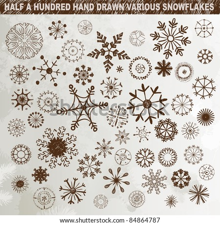 Half a hundred hand drawn various snowflakes - stock vector