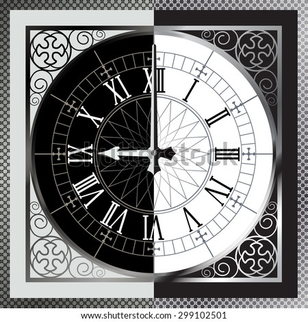 Half black and white clock. Good and bad time. Good and evil. abstract clock background