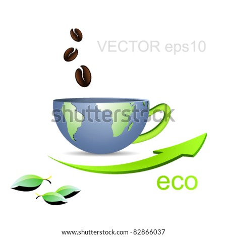 Half Globe in shape of a cup with coffee beans and arrow against white background - business concept - symbolic of internet cafe - stock vector