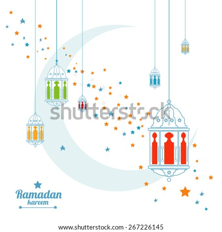 half moon, crescent, star and moon, lamp illustration  - stock vector