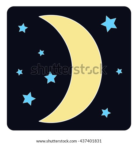 Half-moon with stars on black background.  Vector illustration.