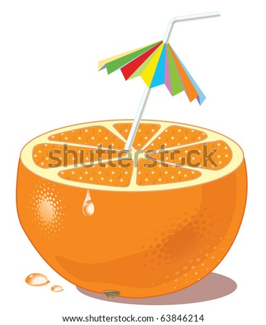 half of orange acting in a role of a glass for a drink with a tubule for a cocktail - stock vector