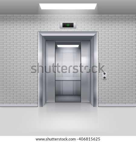 Half Open Chrome Metal Elevator Door in a Brick Wall - stock vector