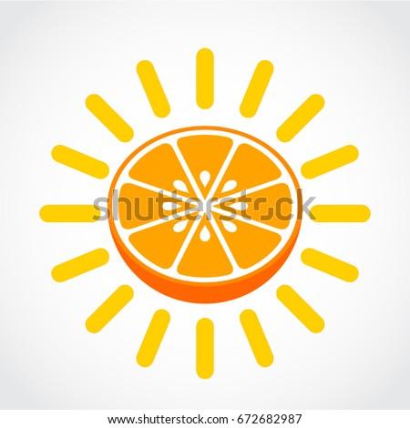 Half Orange Sun Symbol Stock Vector 672682987 Shutterstock