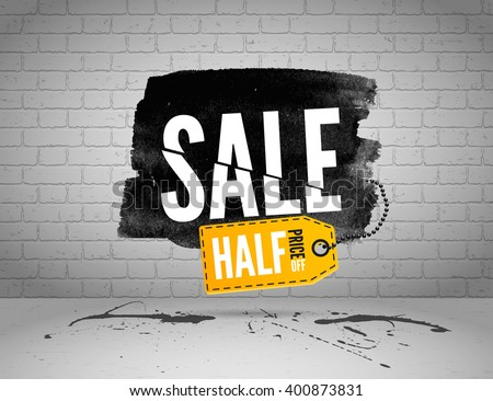 Half price sale poster. Watercolor Sale banner on brick wall. Cut sale on grunge background. White Sale on black ink with shopping tag. Sliced sale text on a grunge stage. Buy one take two sale banner - stock vector