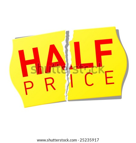 Half price sticker. Vector. - stock vector