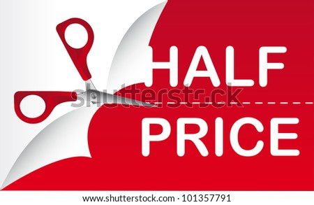 half price with red scissor, background. vector illustration - stock vector