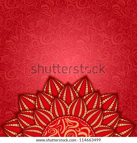 Half Red Flower in the Bottom of the Invitation Card - stock vector
