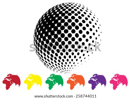 Halftone background world map stock vector 258744011 shutterstock half tone background with world map gumiabroncs Images