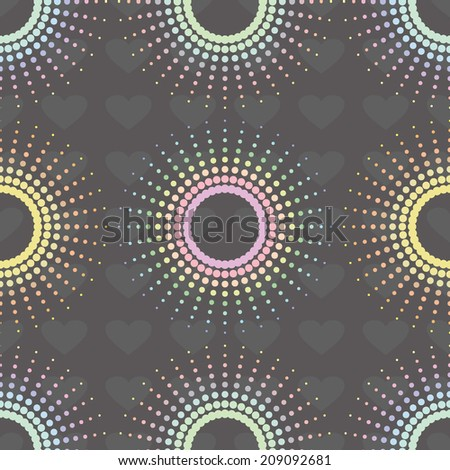 Halftone.  Abstract seamless pattern. Polka dots seamless pattern with hearts. Vector illustration