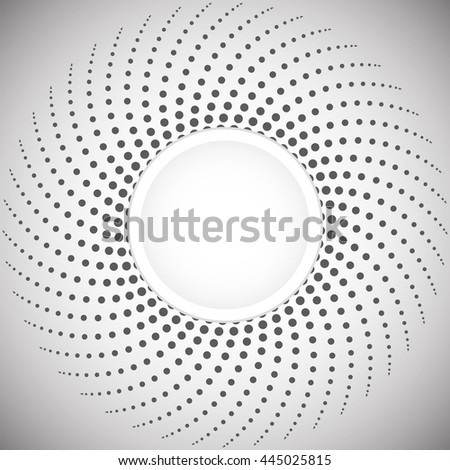 Halftone. Abstract spiral designs of dots. The pattern in shades of gray and white. Round shape background. - stock vector