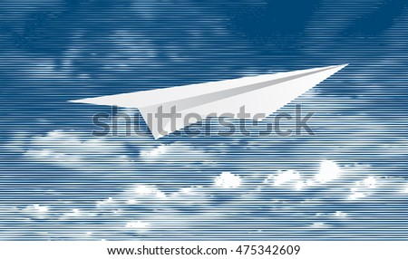 halftone blue and white clouds, paper plane, vector illustration, linear raster, symbolic engraving