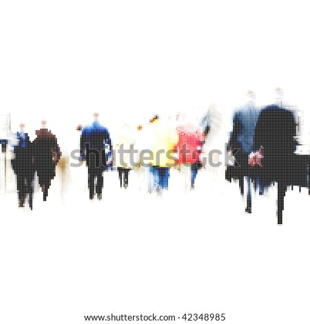 halftone business people going to work - stock vector