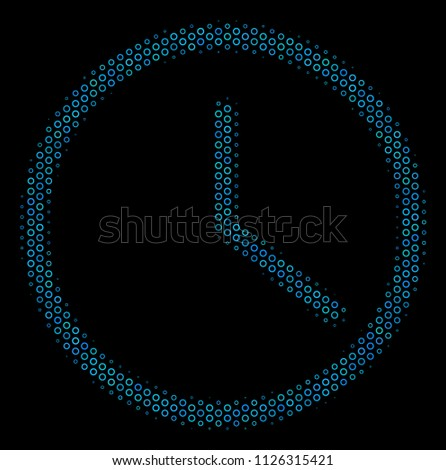 Halftone clock collage icon empty circles stock vector hd royalty halftone clock collage icon of empty circles in blue color tinges on a black background thecheapjerseys Gallery