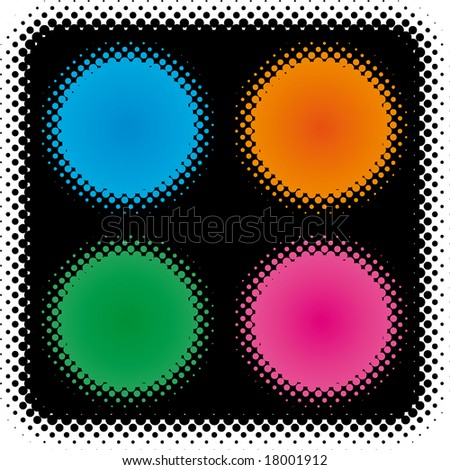 halftone color label set (from dots design series) - stock vector
