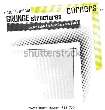 halftone design elements - set - stock vector