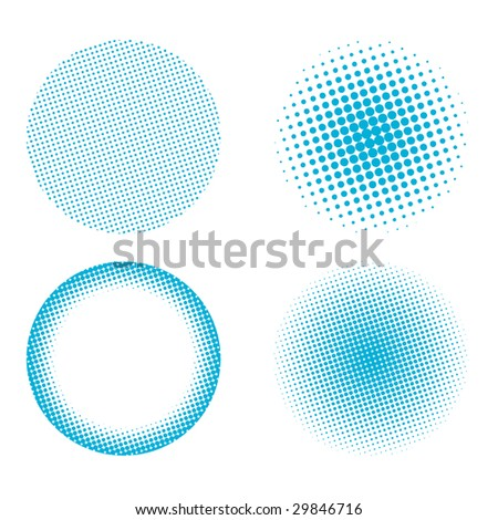 Halftone design elements set isolated on a white background - stock vector