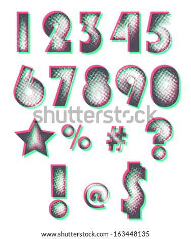 Halftone design numbers. Editable colors. Vector eps10. - stock vector
