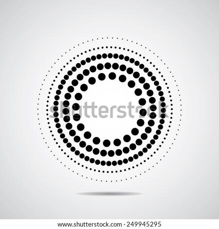 Halftone dots circle - stock vector