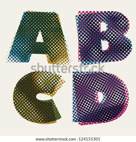 Halftone Dots Font Dirty Grunge Color Pixels Print Texture Letters Vector Alphabet