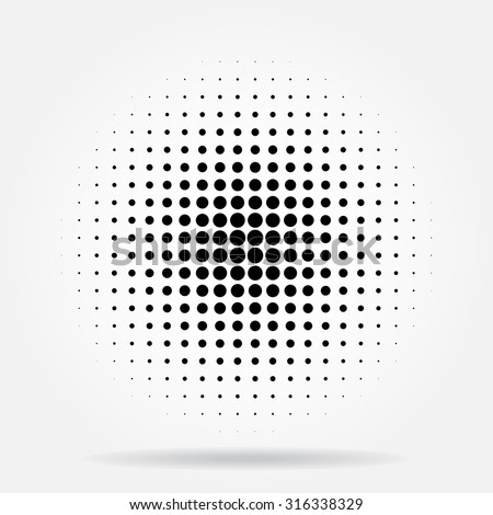 Halftone dots radial - stock vector