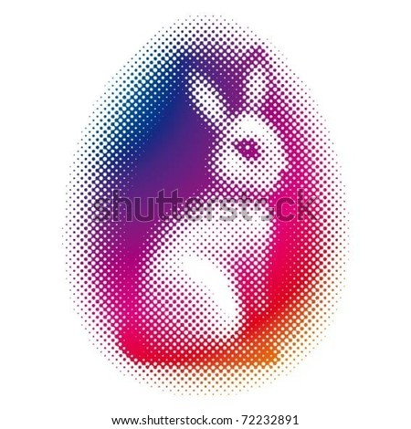 halftone easter  bunny - stock vector