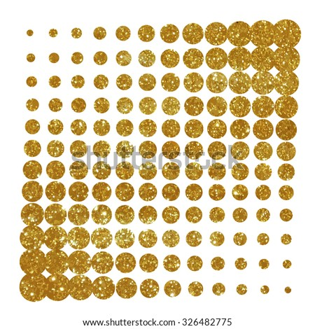 Halftone element, made of gold texture. - stock vector