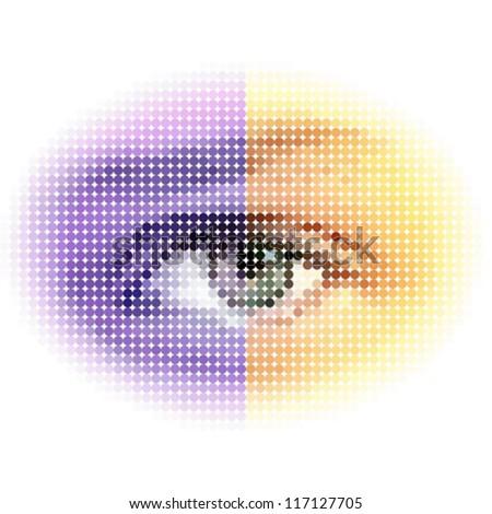 halftone eye - stock vector