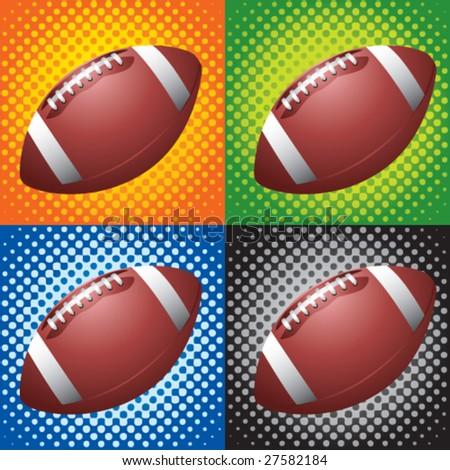 halftone footballs - stock vector